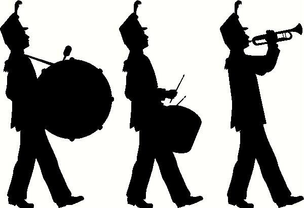 600x411 Marching Band Silhouette Clipart
