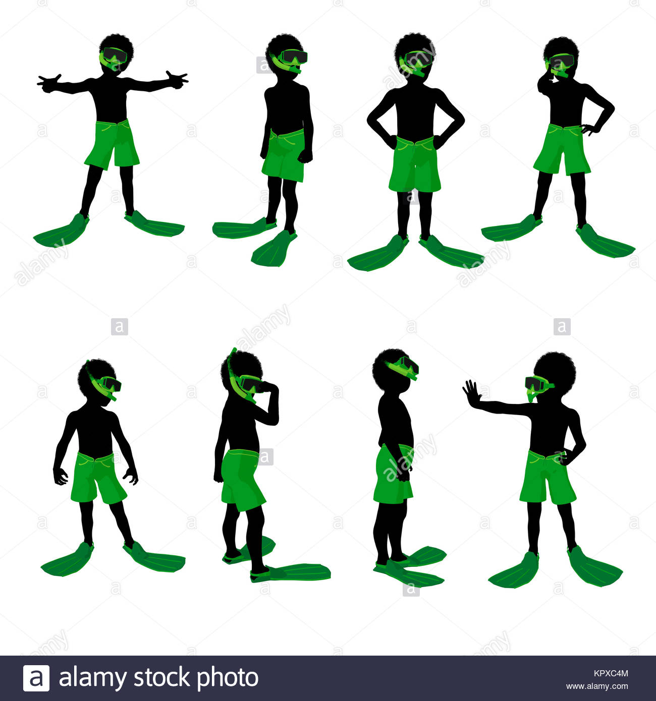 1300x1390 African American Boy Snorkel Illustration Silhouette On A White