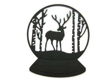 340x270 Paper Cut Silhouette Shadow Box Deer In The Woods