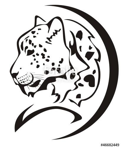 411x500 Snow Leopard Head Symbol. Black On The White Stock Image