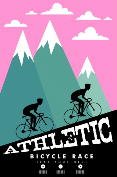 399x600 Bicycle Race Banner Cyclist Silhouette Steep Mountain Decor Free