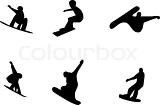 320x210 Snowboarder Man Silhouette Set For Design Use Stock Vector