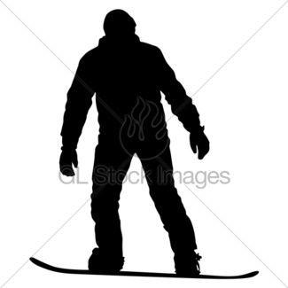 325x325 Black Silhouettes Snowboarders On White Background Illust Gl