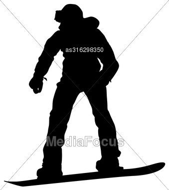 339x380 Black Silhouettes Snowboarders On White Background Vector