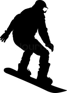 233x320 Black Silhouette Snowboarder On White Background. Vector