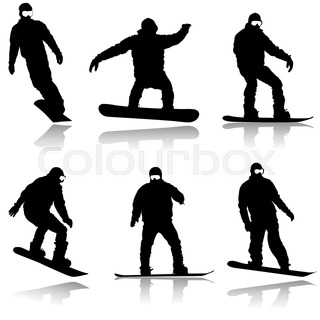 320x320 Black Silhouettes Set Snowboarders On White Background. Vector