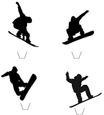 342x377 Novelty Snowboarding Silhouette Mix 12 Edible Stand Up Wafer Paper