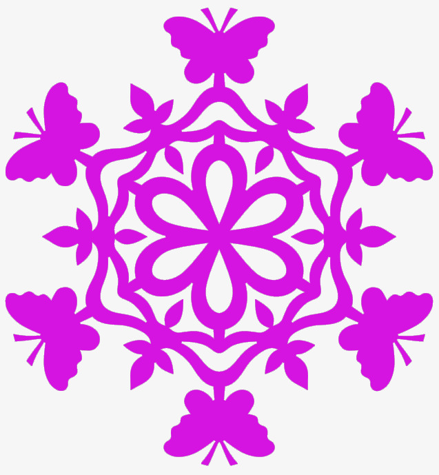 637x689 Purple Snowflake Silhouette Art, Purple, Snowflake, Art Png Image