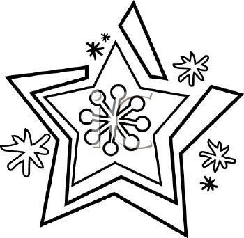 350x342 Picture Of Snowflake In Black And White In A Vector Clip Art