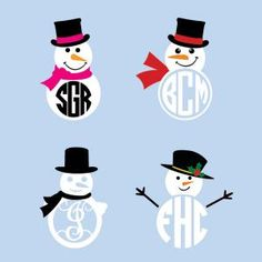 236x236 Free Snowman Monogram Set Silhouette Cut Files Cricut