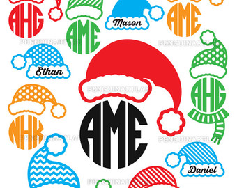 340x270 Santa Reindeers And Elf Svg Monogram Files Christmas Snowman