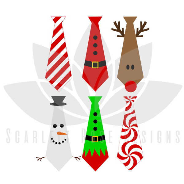 600x600 Christmas Ties Svg, Bundle Pack, Santa, Rudolph, Snowman, Candy