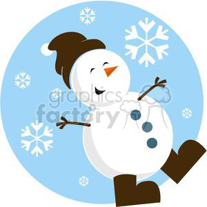 300x300 Royalty Free Snowman With Brown Hat And Brown Boots 381024 Vector