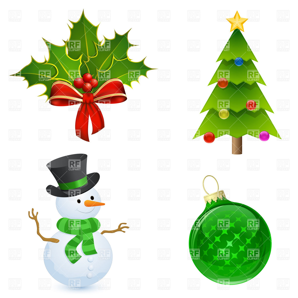 1200x1200 Christmas Icon Holly, Tree, Snowman And Bauble Royalty Free Vector