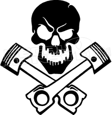 223x230 Arctic Cat Skull And Pistons Silhouette Snowmobile Decal Sticker