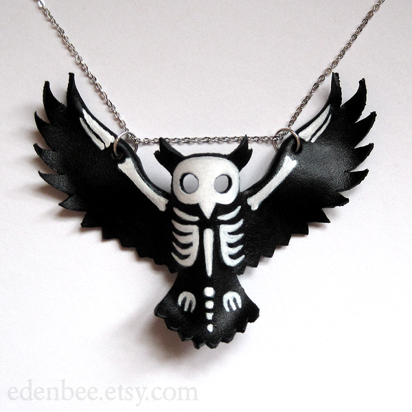 600x600 Owl Silhouette And Skeleton Leather Pendant By Shmeeden