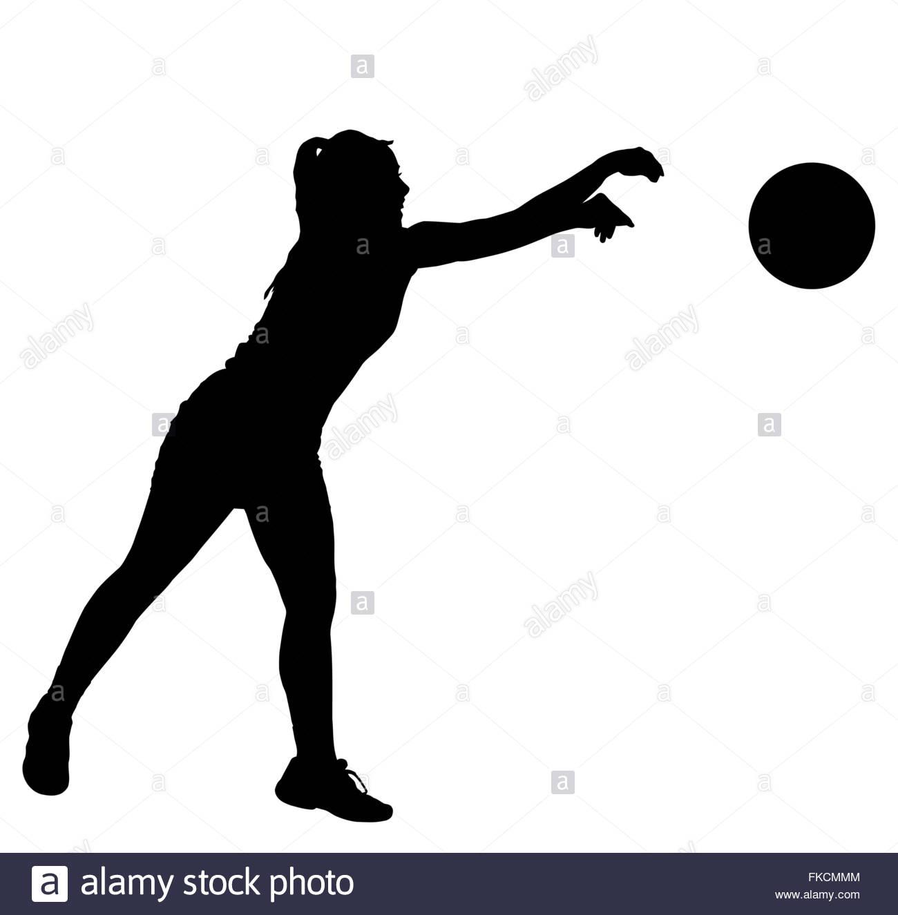 1300x1325 Black On White Silhouette Of Korfball Ladies League Player Girl