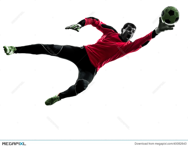 800x629 Caucasian Soccer Player Goalkeeper Man Catching Ball Silhouette