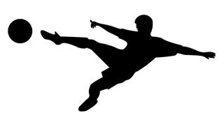 320x165 Soccer Player Silhouette 1 Decal Sticker