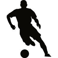 236x236 Soccer Player Silhouette Kicking Ball Decal Or Sticker For Your