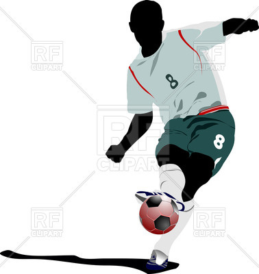 378x400 Soccer Player Silhouette Hits The Ball Royalty Free Vector Clip