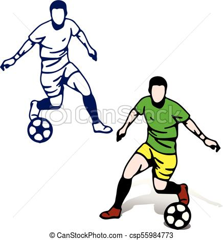 436x470 Soccer Players With The Ball In Motion Playing, Vectors