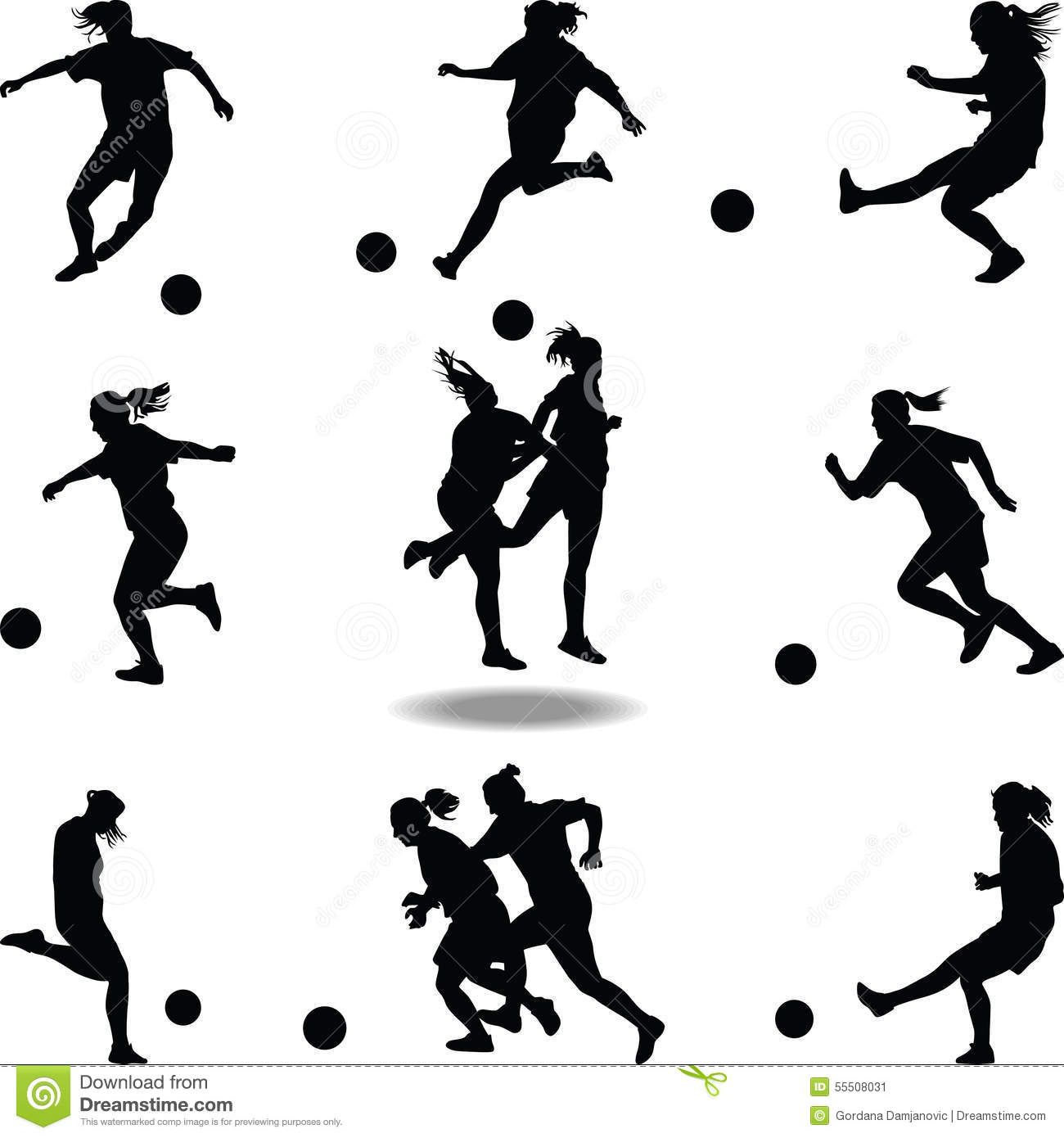 1300x1390 Woman Soccer Player Silhouette Vector