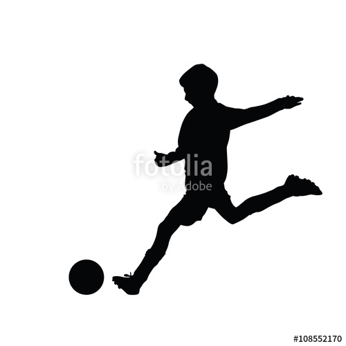 500x500 Young Soccer Player Kicking A Ball, Isolated Vector Silhouette F