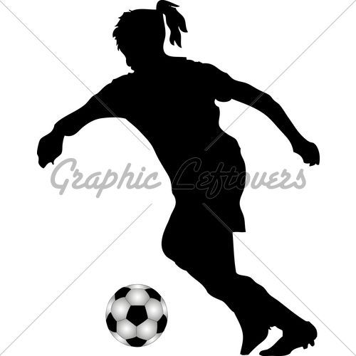 500x500 Girl Soccer Player Silhouette Free Vector