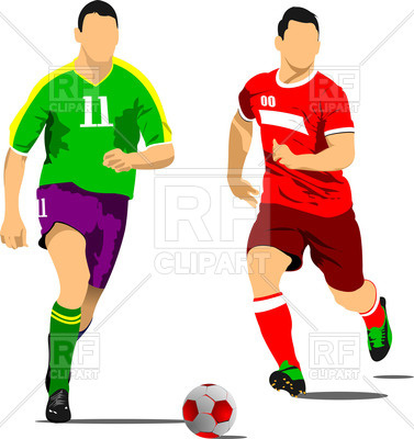 377x400 Silhouettes Of Soccer Players With Ball In Action Royalty Free