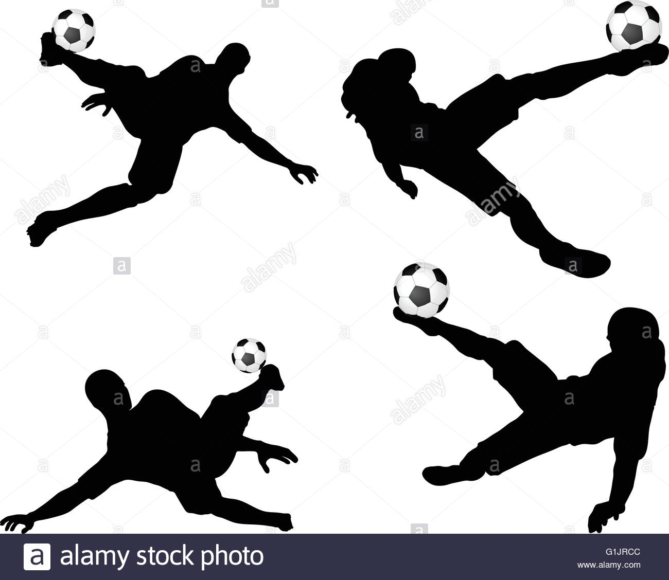 1300x1128 Isolated Poses Of Soccer Players Silhouettes In Air Position Stock