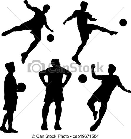 445x470 Silhouette Of Soccer Football Player Man Striking The Ball
