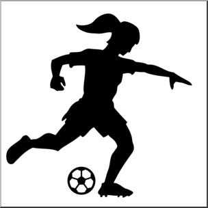 304x304 Clip Art Soccer Player Silhouette Female Bampw Abcteach