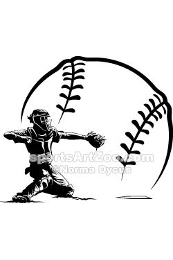Softball Catcher Silhouette