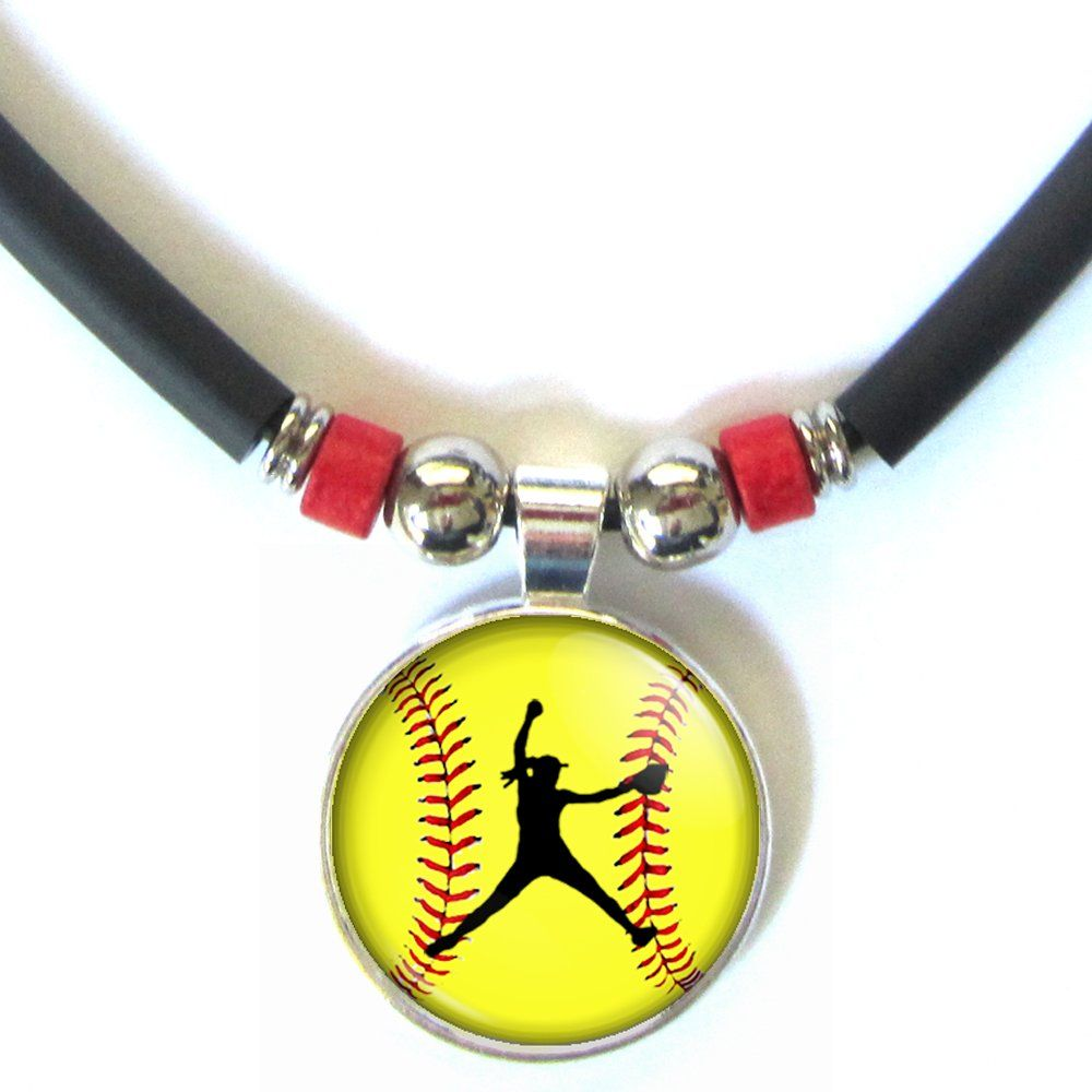 1000x1000 Softball Pitcher Silhouette Red Bead Necklace With Glass 3d Dome
