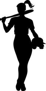 152x300 Girl Softball Player Silhouette Clipart