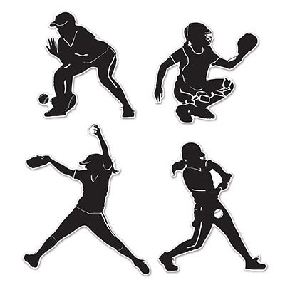 400x400 Softball Players Silhouettes Cutouts