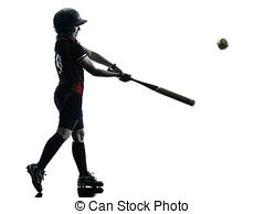 240x194 Woman Playing Softball Players Silhouette Isolated. One