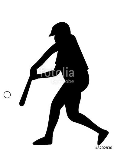 377x500 Softball Player (Silhouette) Stock Image And Royalty Free Vector