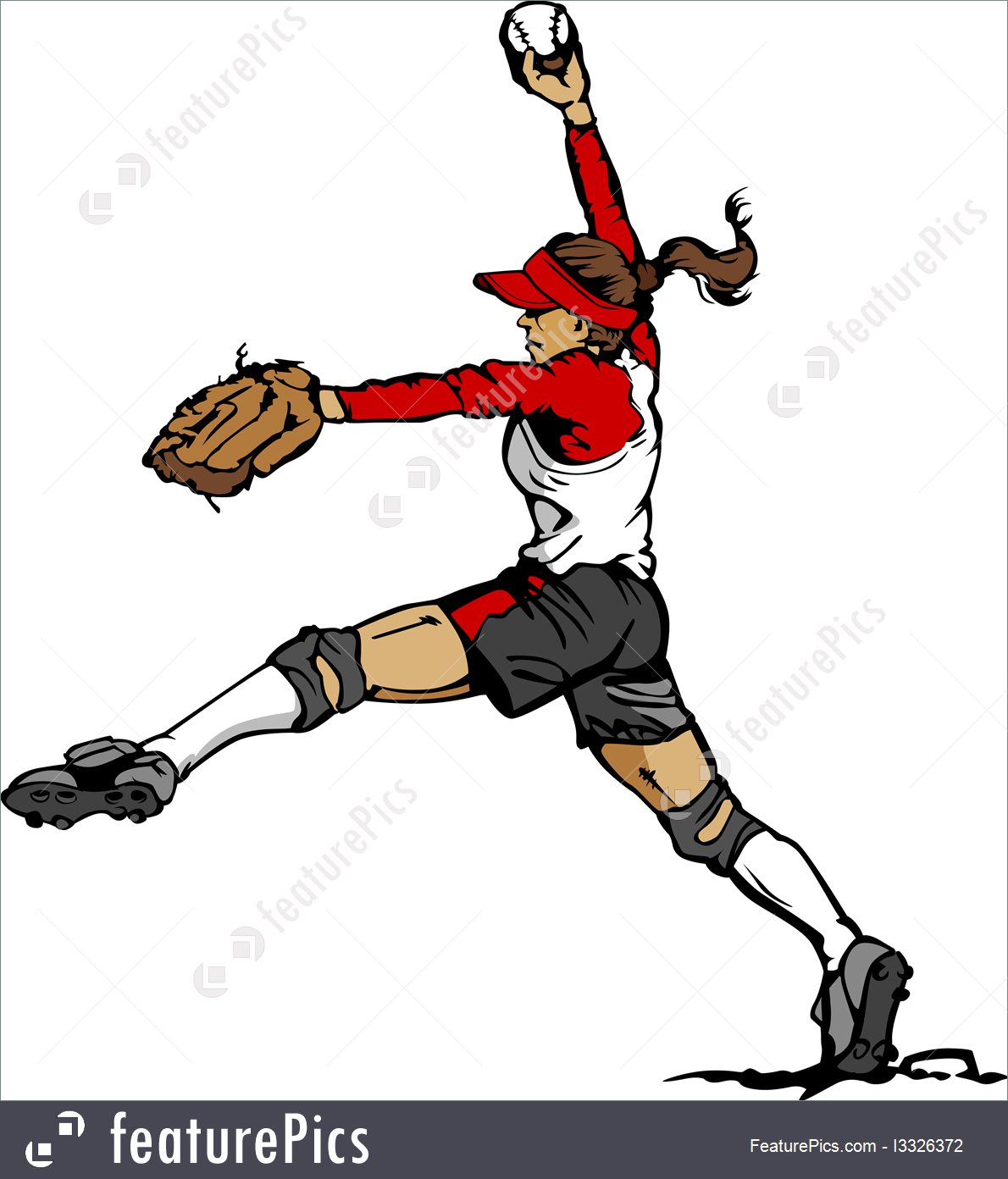 1190x1392 Fast Pitch Softball Pitcher Vector