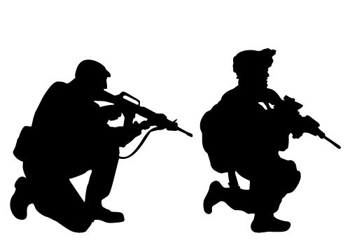 500x350 Army Clipart Silhouette