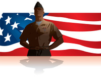 200x152 Silhouette Of A Soldier Saluting To American Flag Stock Photos