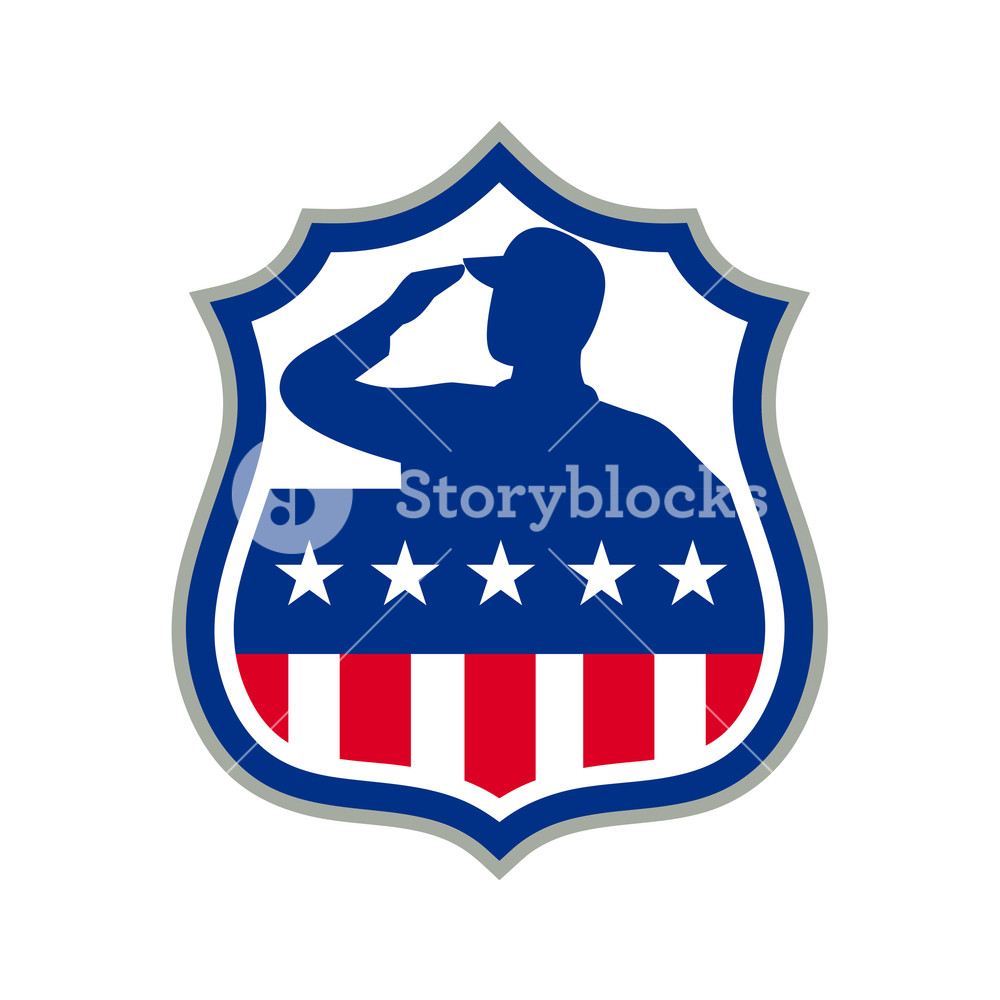 1000x1000 Icon Retro Style Illustration Of Silhouette Of An American Soldier