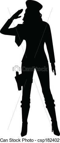 197x470 Saluting Military Woman Silhouette. A Silhouette Of A Eps