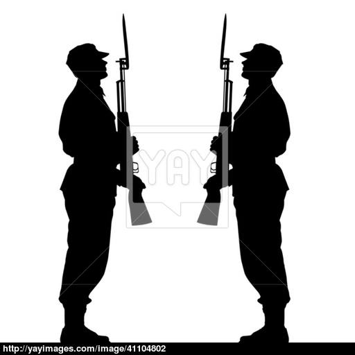 512x512 Silhouette Soldiers During A Military Parade. Vector Illustratio
