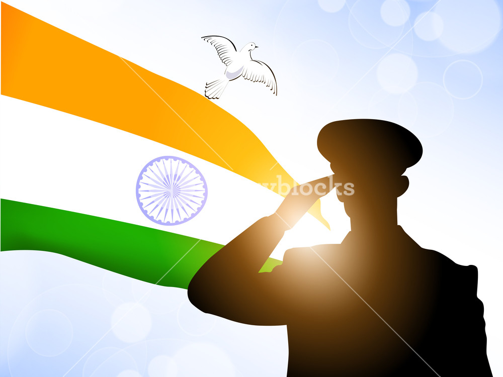 1000x750 Saluting Soldier Silhouette On Indian Flag Waving Background