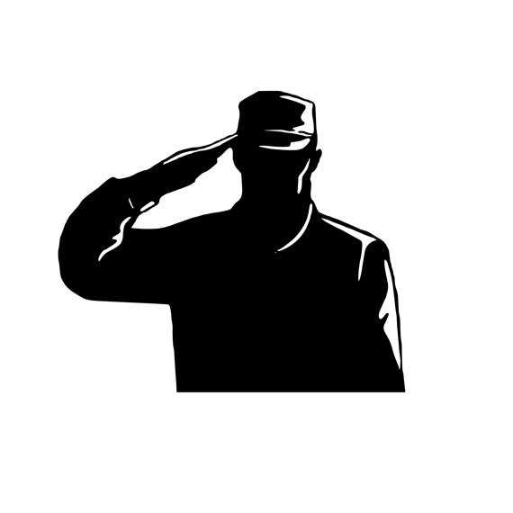 570x570 Clip Art Silhouette Of An Army Soldier Saluting On Hills Against