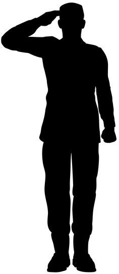 236x543 Saluting Army Soldier's Silhouette Isolated On White (Memorial Day