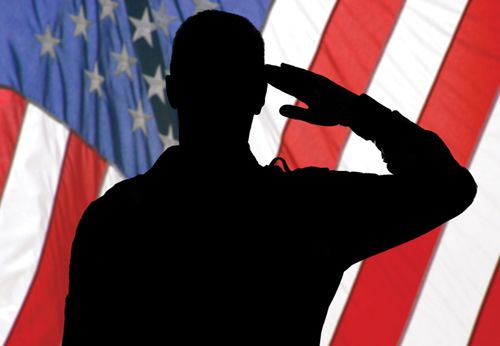 500x346 Silhouette Of Saluting Soldier In Front Of Flag Us (Armed Forces