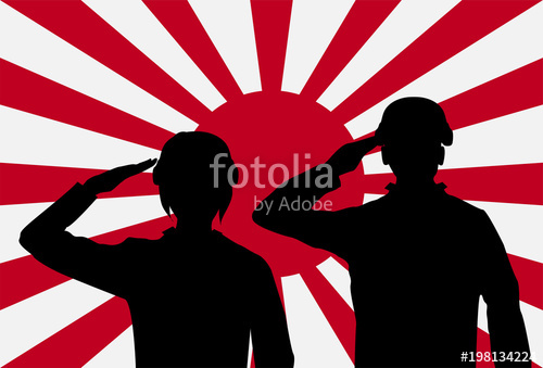 500x339 Silhouette Japan Soldier On Rising Sun Japan Flag Stock Image